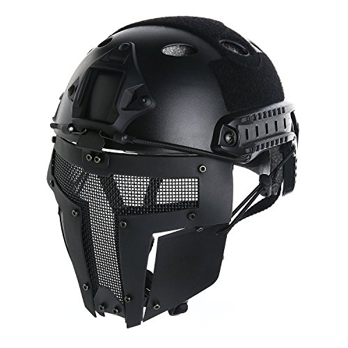 VILONG Airsoft Metal Steel Mesh Mask,Skull Face Guard for Helmet CS Edition Outdoor Tactical Paintball - Guards Steel Face