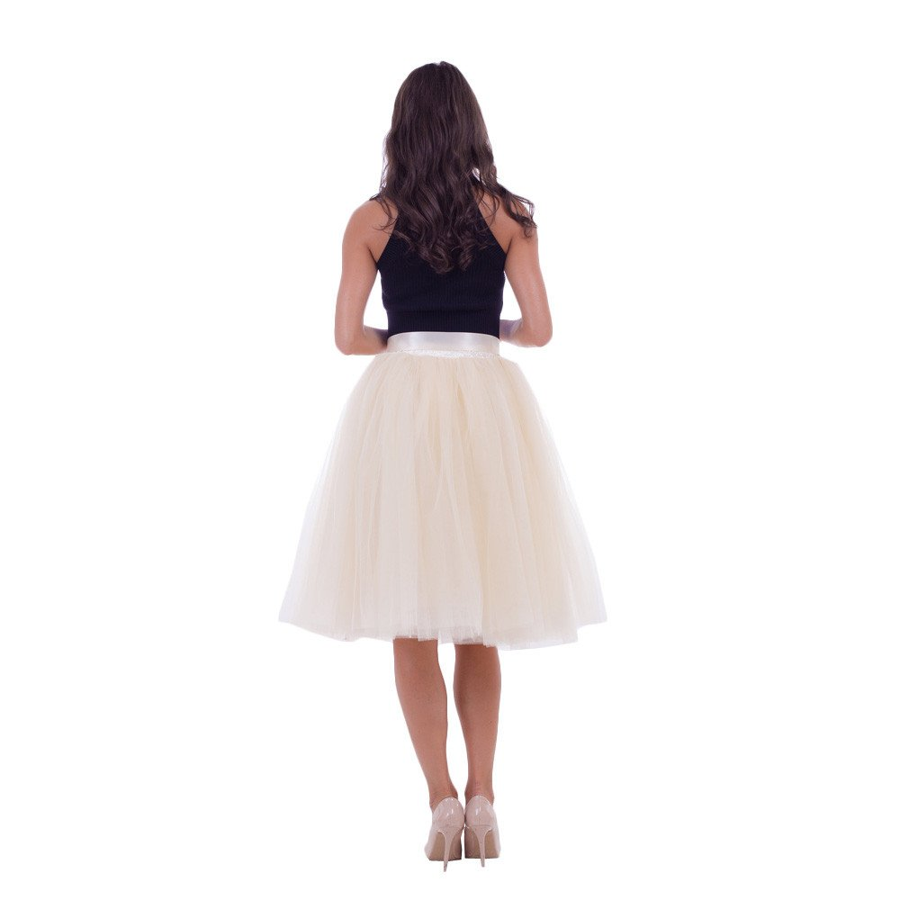 53ee91da6 Women's Tutus Dresses 5 Layers Tulle Skirts Halloween Dress Skirt Party  Mesh Pleated A-Line Mini Skirts (Free Size, Beige) at Amazon Women's  Clothing store: