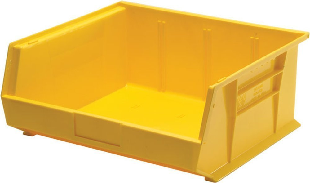 Quantum Storage Systems K-QUS250YL-2 Plastic Storage Stacking Ultra Bin, 14'' x 16'' x 7'', Yellow (Pack of 2)