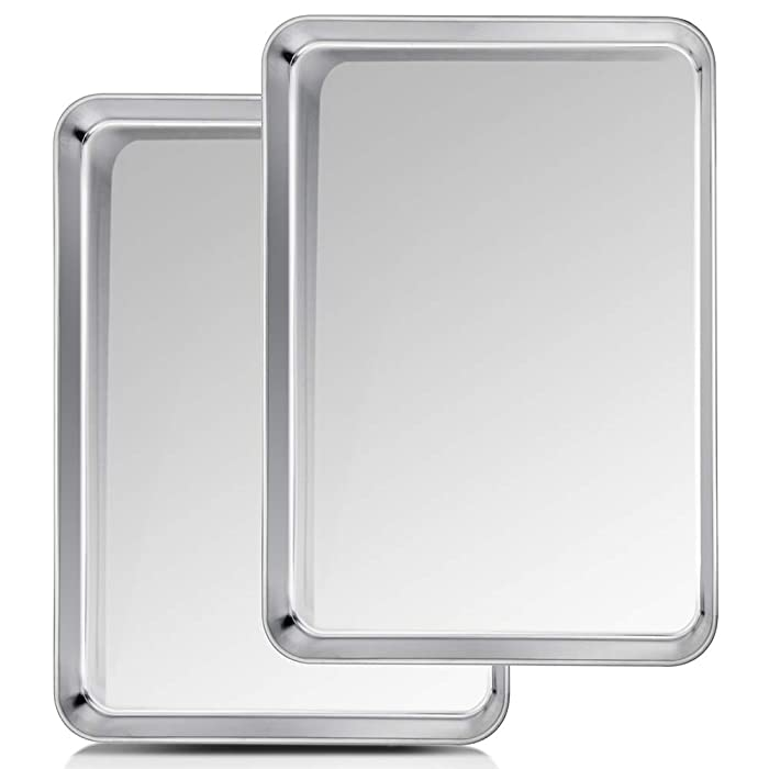 TeamFar Baking Sheet, Cookie Sheet Half Sheet Baking Pans Stainless Steel, 20''×14''×1'', Non Toxic & Healthy, Heavy Duty & Thick Gauge, Mirror Finish & Dishwasher Safe - 2 Piece