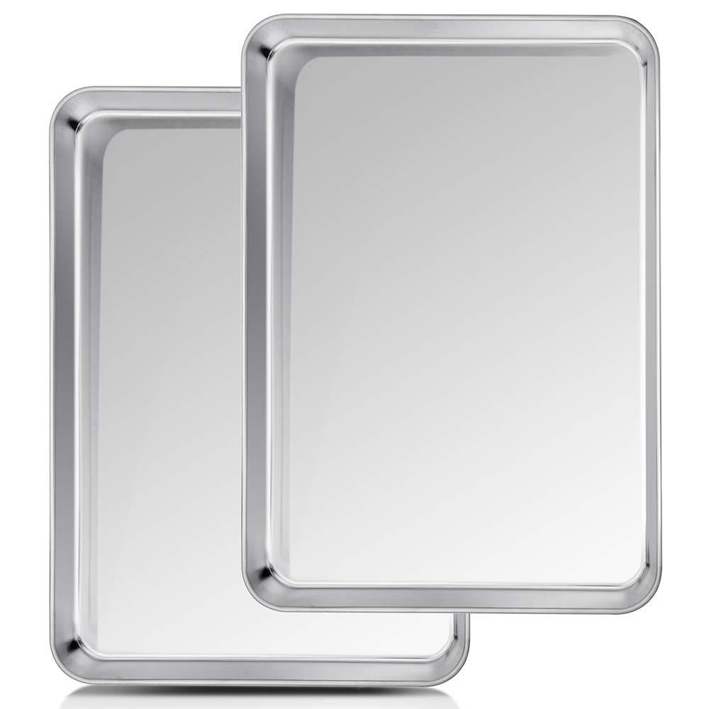 TeamFar Baking Sheet, Cookie Sheet Half Sheet Baking Pans Stainless Steel, 20''×14''×1'', Non Toxic & Healthy, Heavy Duty & Thick Gauge, Mirror Finish & Dishwasher Safe - 2 Piece