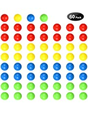 Hotusi 60Pcs Game Replacement Marbles Balls Compatible with Hungry Hungry Hippos(Random Colors)