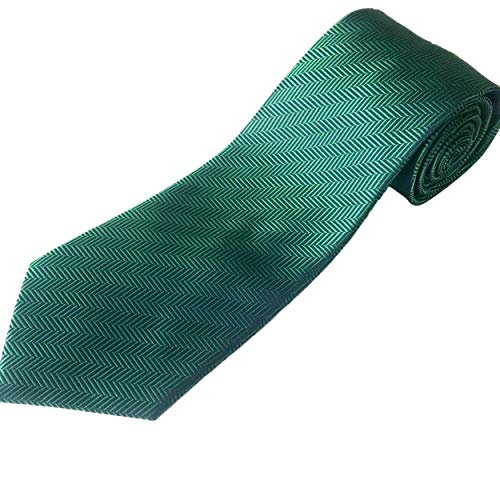 100% Silk Extra Long Solid Kelly Green Herringbone Silk Necktie XL (63-Inch Length, Traditional 3.75-Inch Width) -