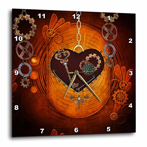 3dRose Heike Köhnen Design Steampunk – Beautiful Steampunk Heart Clocks and Gears – Wall Clocks