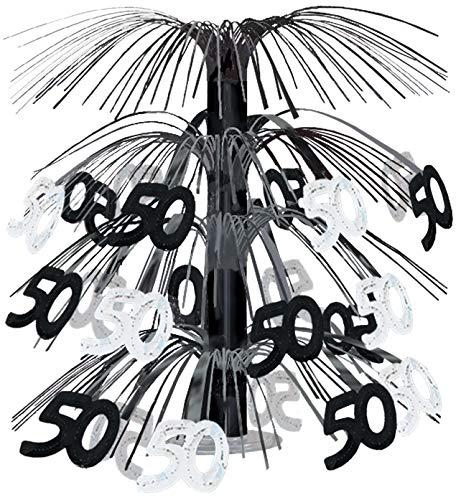 50 Cascade Centerpiece (black & silver) Party Accessory  (1 count) (1/Pkg) ()