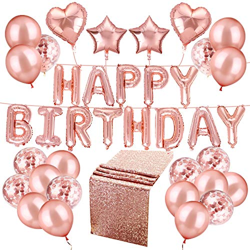 Whaline 50 Pcs Happy Birthday Balloons Set Rose Gold Including Happy Birthday Balloons with 4pcs Foil Balloons and 30 Rose Gold Confetti Balloons with 2 Rolls Foil Ribbon and 1 Table Runner ()