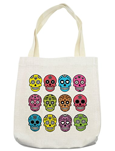 Lunarable Skull Tote Bag, Ornate Colorful Traditional Mexian Halloween Skull Icons Dead Humor Folk Art Print, Cloth Linen Reusable Bag for Shopping Groceries Books Beach Travel & More, (Day Dead Compared Halloween)