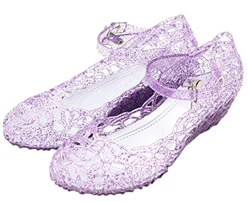 Vokamara Cinderella Girls Soft Crystal Plastic Shoes Hollow Out Wedge Sandal Purple -