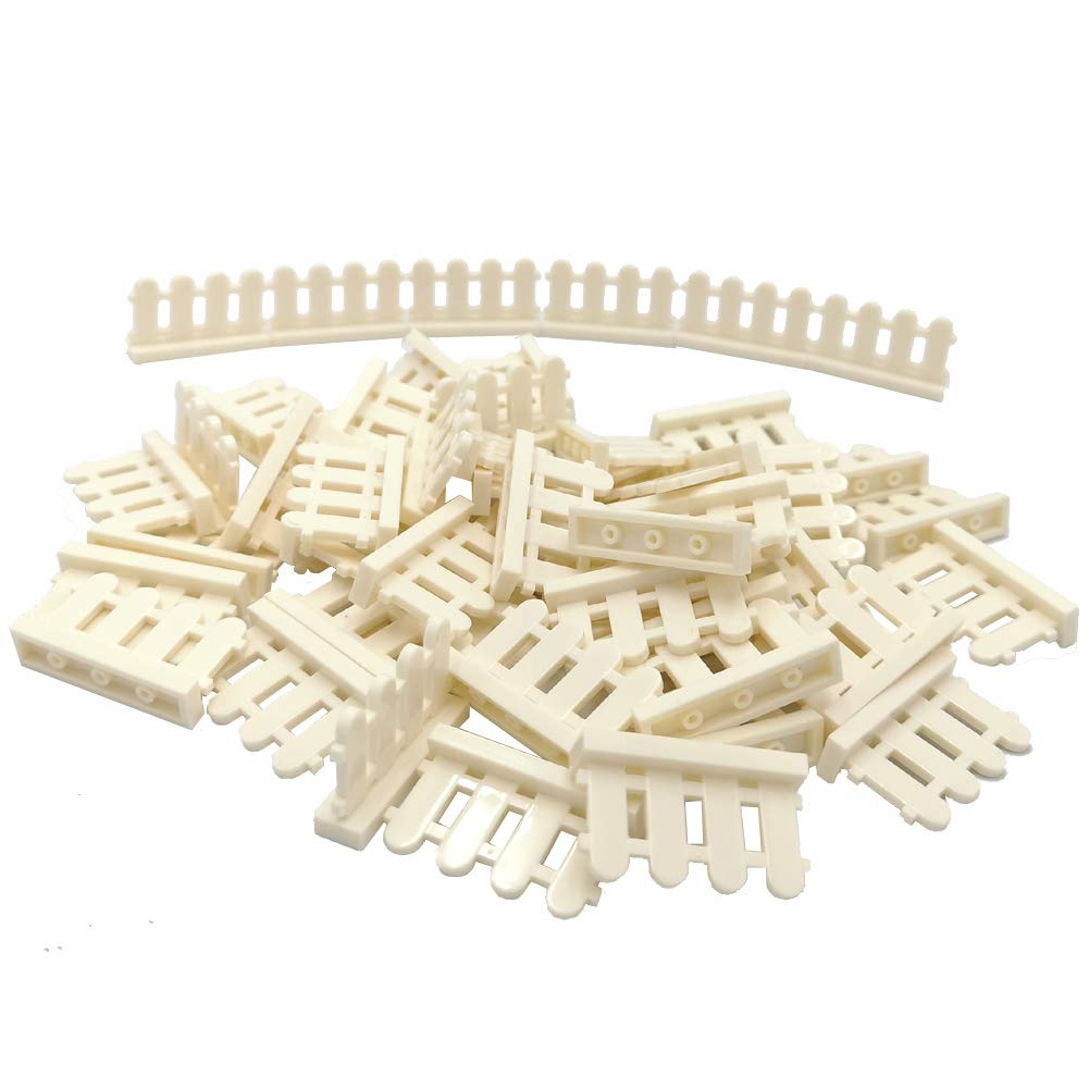 ZHX 50 PCS City Accessories Bricks Fence 1 x 4 x 2 White Picket Fence Building Block Toy