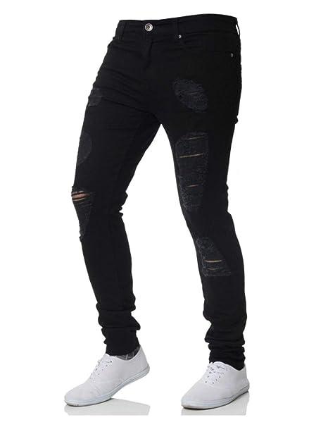 Amazon.com: Rexcyril Pantalones vaqueros ajustados ajustados ...