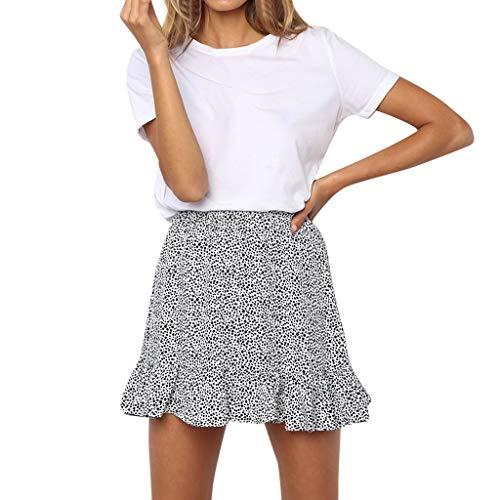 ANJUNIE Women Casual Retro High Waist Skirt Hollow-Carved Design Evening Party Short Skirt(White,S)
