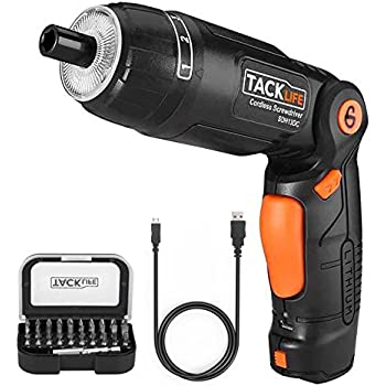 Tacklife SDH13DC Cordless Screwdriver 3.6-Volt 2000mAh MAX Torque 4N.m - 3-Position Rechargeable - 31 Screwdriver Bits in Case, 4 LED Light, Flashlight, USB Charging for Around House Small Jobs