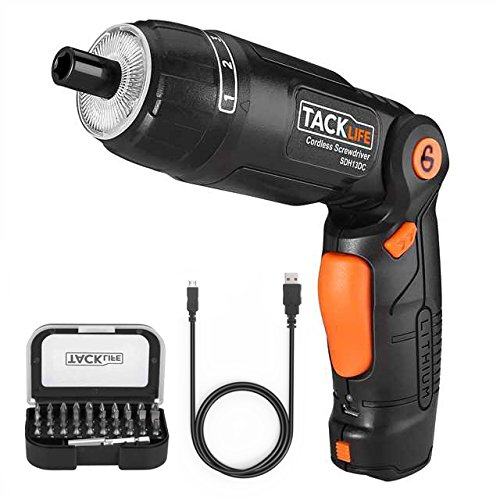 Tacklife SDH13DC Cordless Screwdriver 3.6-Volt 2000mAh MAX Torque 4N.m - 3-Position Rechargeable - 31 Screwdriver Bits in Case, 4 LED Light, Flashlight, USB Charging for Around House Small Jobs by TACKLIFE