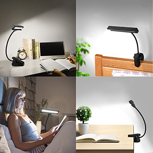 CeSunlight Clip on Reading Light, Rechargeable Battery Operated Book Light, Portable Music Stand Lights, LED Desk Lamp with Good Eye Protection Brightness by CeSunlight (Image #6)