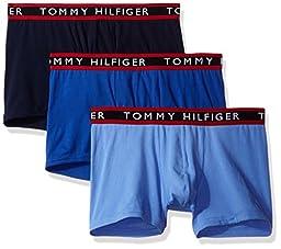 Tommy Hilfiger Men\'s Underwear 3 Pack Cotton Stretch Trunks, Persian Blue, Medium