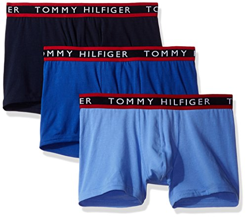 Tommy Hilfiger Men's Underwear 3 Pack Cotton Stretch Trunks, Persian Blue, X-Large