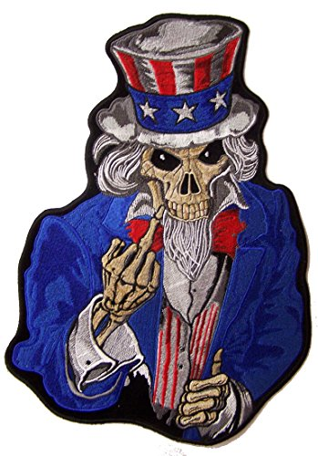 Jumbo 12 Inch USA SKELETON UNCLE SAM MIDDLE FINGER biker Patch -Iron on or Sew on Embroidered Jacket Patch (Uncle Sam Biker Jacket)