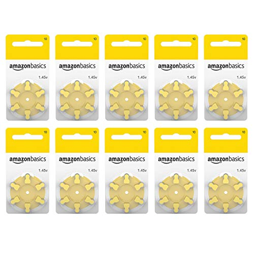 Amazon Basics 1.45 Volt Hearing Aid Batteries – Pack of 60, Size 10