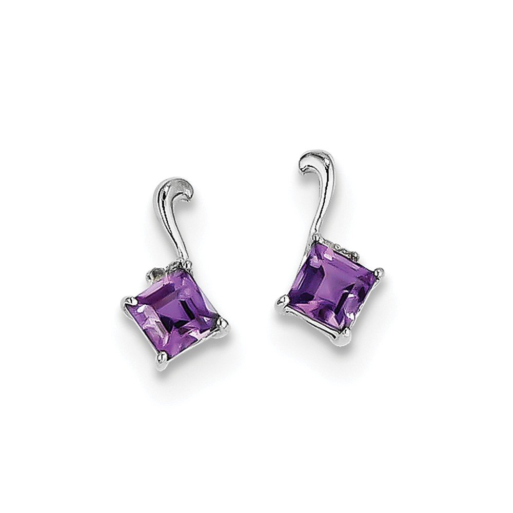 Sterling Silver Rhodium Plated Diamond & Amethyst Square Post Earrings