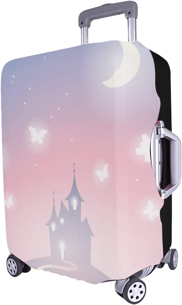 Fantasy Castle Silhouette On Hill Spandex Trolley Case Travel Luggage Protector Suitcase Cover 28.5 X 20.5 Inch