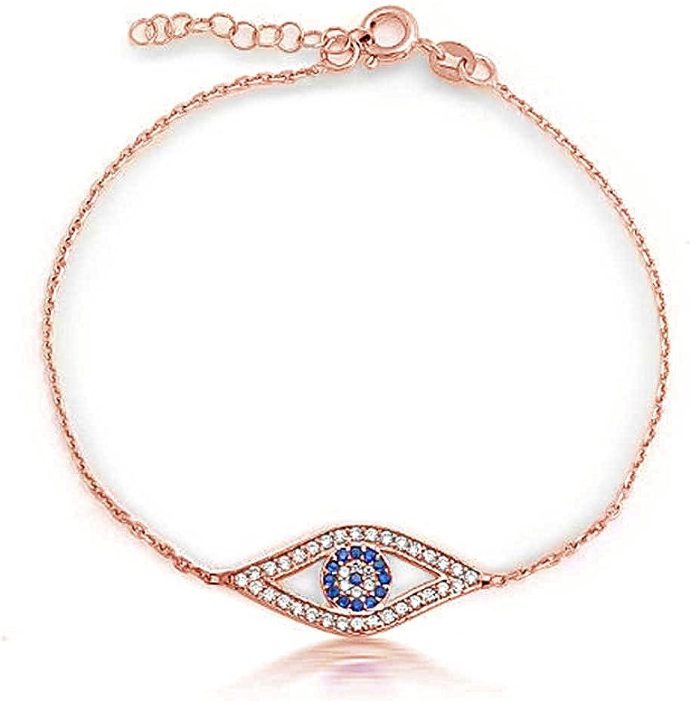 Zirkonia CZ Winzigen Blauen Böse Auge Gliederarmband Für Jugendlich Damen 14K Oder Rose Vergoldet Sterling Silber 925