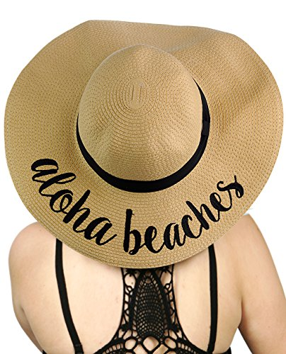 C.C Women's Paper Weaved Crushable Beach Embroidered Quote Floppy Brim Sun Hat, Aloha -