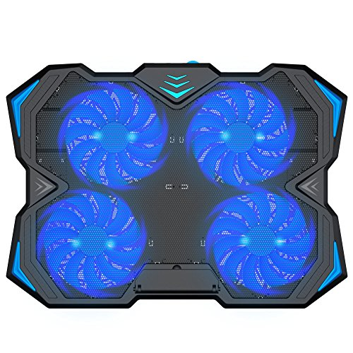 Kootek 12-17 Inch Laptop Cooling Pad, 4 Quiet Fans Cooler Chill Mat with Adjustable Speed Fan and 3 Height Mount Stand 2 USB Ports Chill Mats by Kootek