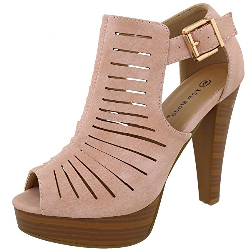 le-6 Gladiator Bootie Sandals (7 B(M) US, Blush) ()
