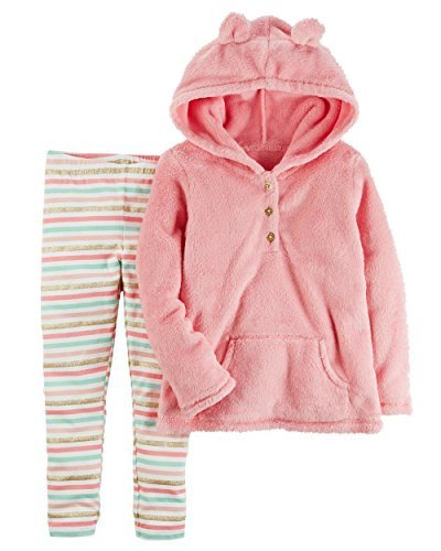 Carter's Girls' 2T-5T 2 Piece Faux Sherpa Hoodie And Leggings Set (5T, Pink)