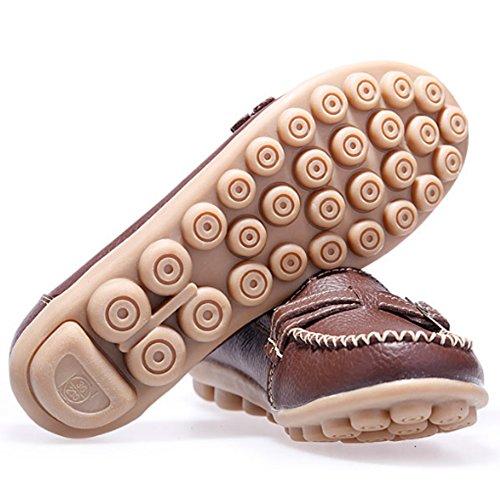 LINGTOM Damen Casual Leder Loafers Driving Mokassins Wohnungen Schuhe Gelb