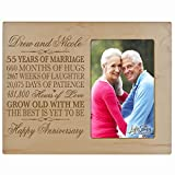 Personalized 55th Year Wedding Anniversary Gift for Couple Custom engraved 55th Wedding Anniversary Celebration Gift Frame Holds 1 4x6 Photo 8'' H X 10'' W (Black) (Maple)