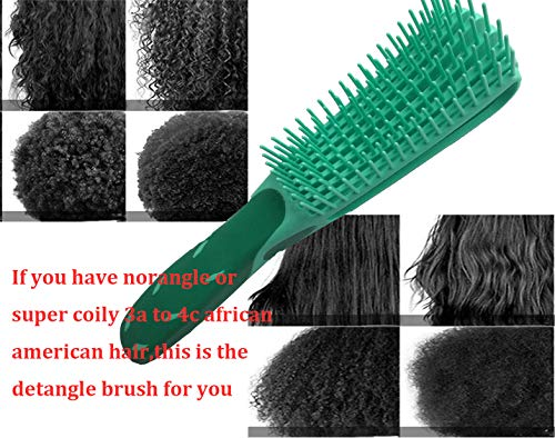 Detangling Brush for Natural Hair-Detangler for Afro Textured 3a to 4c Kinky Wavy, Detangle Easily with Wet, Coily Hair, Dry, Curly,Conditioner, Improve Hair Texture-Easy Clean (Green)