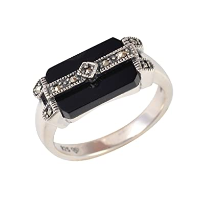 Esse Marcasite Sterling Silver Oval Black Onyx and Marcasite Art Deco Dress Ring 7ameIiFw