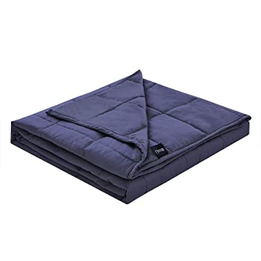 ZonLi Queen Size Weighted Blanket 20 lbs | 60''x80'' | Navy Blue Weighted Blanket for Adults 180-220 lbs | Premium Cotton with Glass Beads