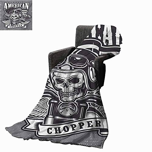 vanfan-home Skull Fashion Throw Blanket,Classical American Vintage Style Motorcycle Racer Cruising on Road Illustration Print Fleece Blanket for Couch Bed Living Room (70