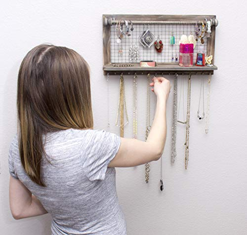 SoCal Buttercup Rustic Brown Jewelry Organizer with Removable Bracelet Rod from Wooden Wall Mounted Holder for Earrings Necklaces Bracelets and Other Accessories by SoCal Buttercup (Image #6)
