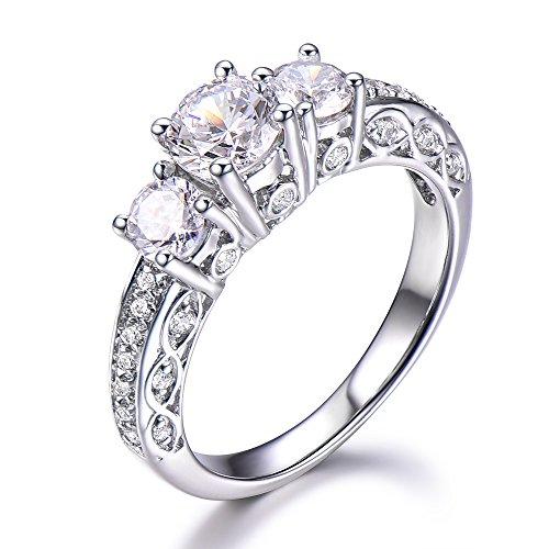 Moissanite Rings Natural Diamond Wedding Band for Women 14K White Gold Engagement Ring Anniversary Gift by Milejewel moissanite engagement rings