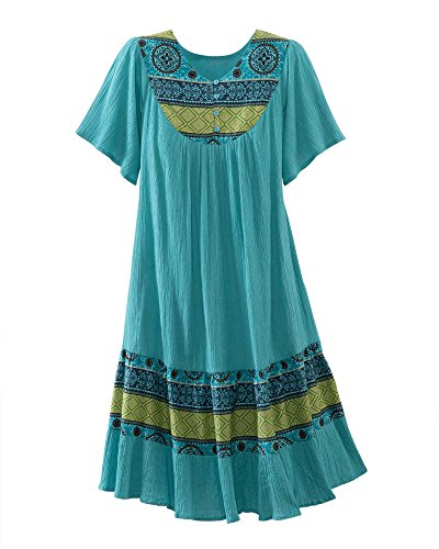 National Santa Fe Border Print Dress, Light Teal,