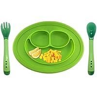 Plato de silicona,Sebami plato de silicona,Platos de Silicona Alimentaria con ventosa para colocar en la mesa Seguro Para Microndas (Verde)