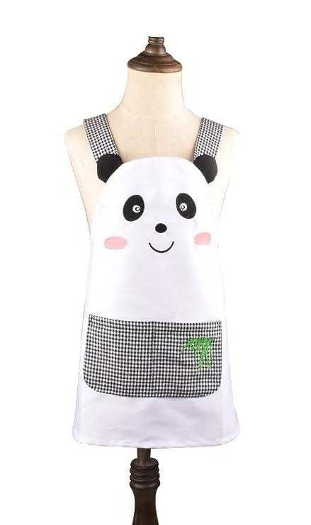 Lindo Niñas Niños Infantil Color Blanco Delantal Cartoon Panda ...