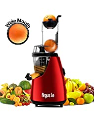 """Juicer, Argus Le Slow Masticating Juicer Extractor, 3"""" Wide Chute Cold Press Juicer Machine, Low Speed Juicer for High Nutrient Fruit and Veggies Juice (Red)"""