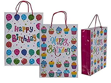 Pack Of 12 Happy Birthday Gift Bags