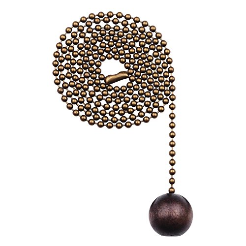 Westinghouse Lighting 7729000 Walnut Wooden Ball Pull Chain, Antique Brass Finish