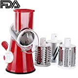 Ourokome Vegetable Mandoline Slicer Chopper- Rotary Cheese Grater with 3 Interchangeable Ultra Sharp Cylinders Stainless Steel Blades(Red)