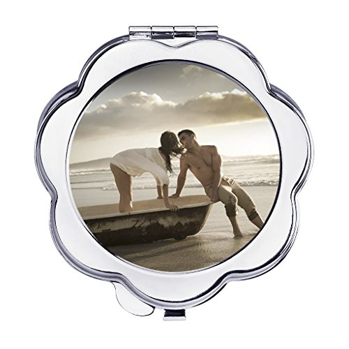 - Personalized Custom Your Own Photo/Text Compact Mirrors, Stainless Steel Foldable Pocket Size Travel Mirrors Makeup Cosmetic Personal Hand Mirror, Great Keepsake Birthday Christmas Gift (Flower Shape)