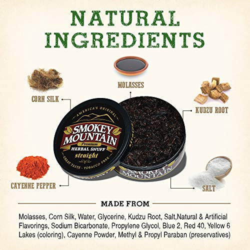 Smokey Mountain Herbal Snuff - Straight - 1-Can - Nicotine-Free and