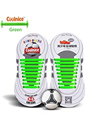 Coolnice® No Tie Shoelaces for Teenagers Outdoor Sports 18pcs- Environmentally Safe silicone - Lazy Shoestrings-Green Color