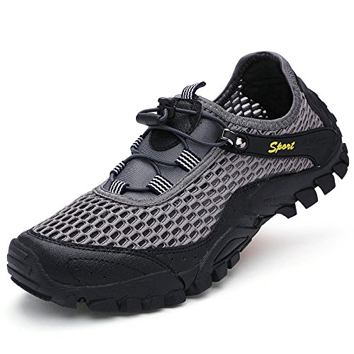 Mens Summer Outdoor Mesh Shoes Leggero Quick Drying Trainers Sandali Sportivi Arrampicata Escursionismo Sneaker Grey