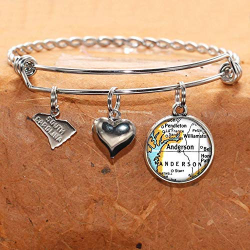 South Carolina Map Bracelet Anderson SC USA States Cities Towns Vintage Map Jewelry and - Bracelets Anderson Jewelry