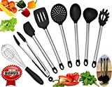 HoMe Premium Kitchen Utensil Set 8 Piece – Silicon & Stainless Metal With Stand, Silicone Hot Pad, Holder Silicone Spoon - Nonstick, Easy Washing, Tools Cooking & Baking,The Perfect Kitchen Set.